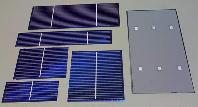 Example of cut solar cells: